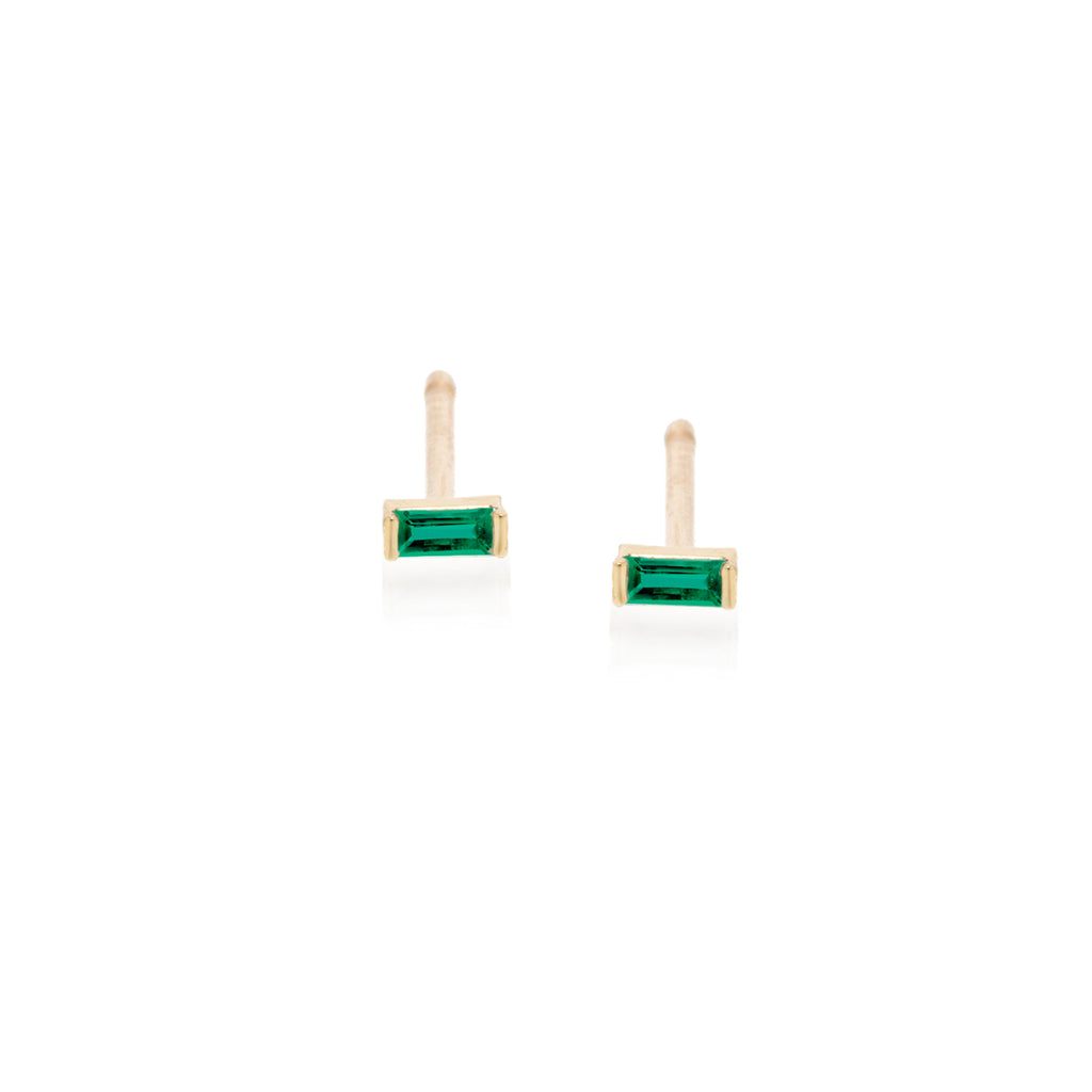 14k emerald baguette studs | May BIRTHSTONE
