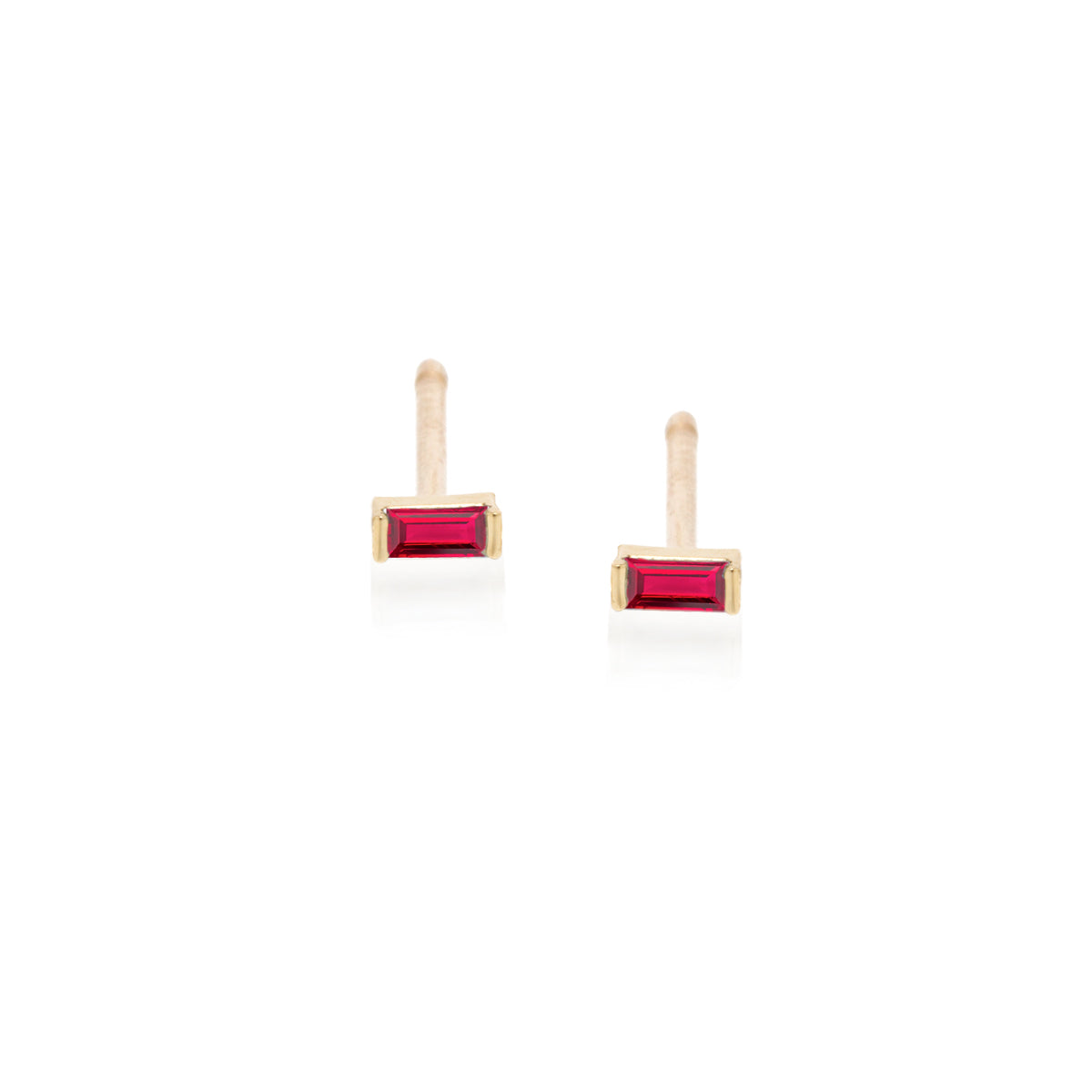 14k ruby baguette studs | July BIRTHSTONE