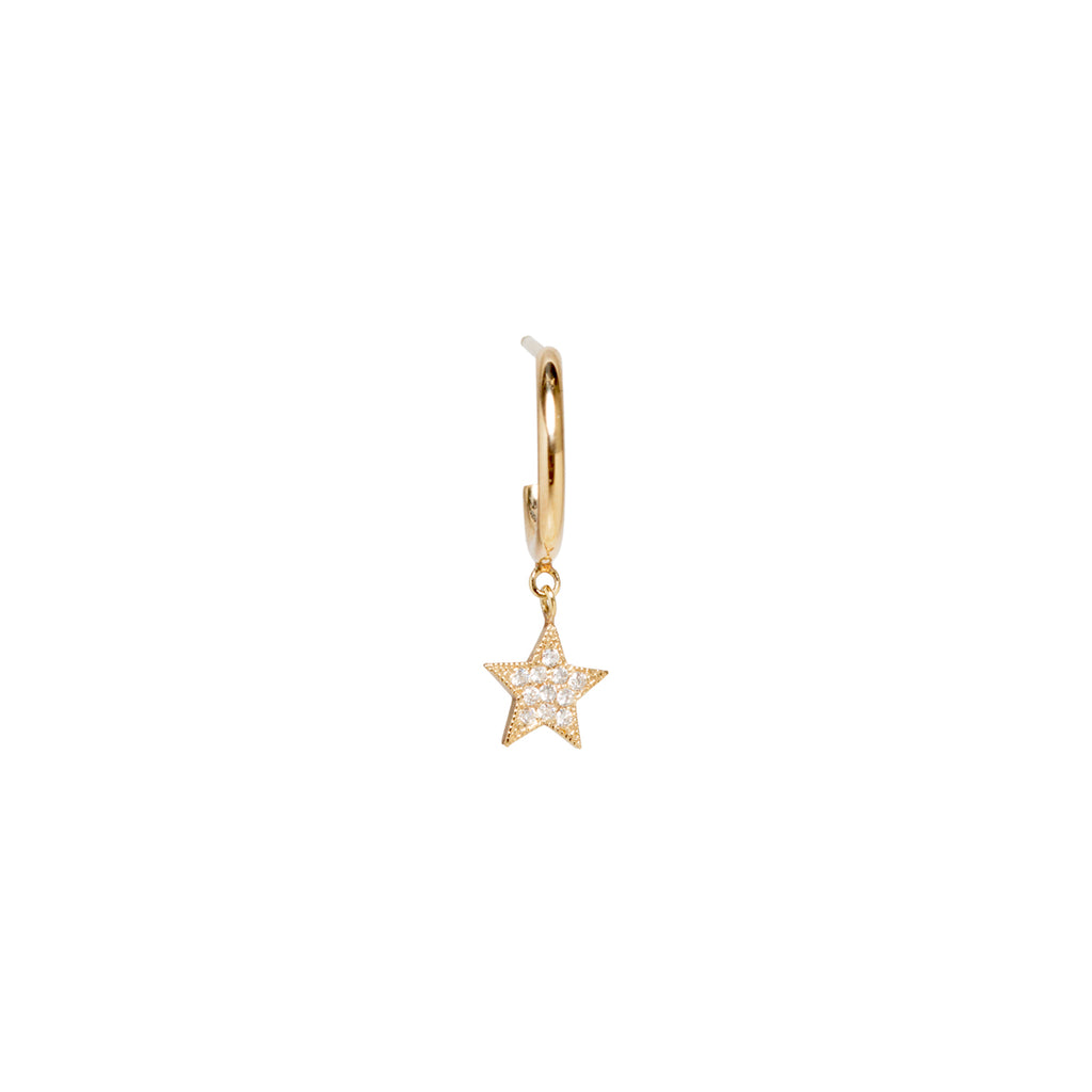 14k midi bitty pave diamond star thick huggie hoops