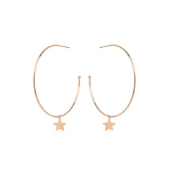14k large hoops with dangling midi bitty star charms