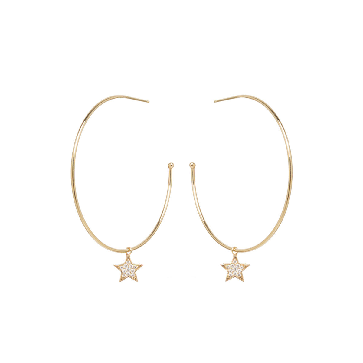 14k large hoops with dangling pave diamond midi bitty star charms