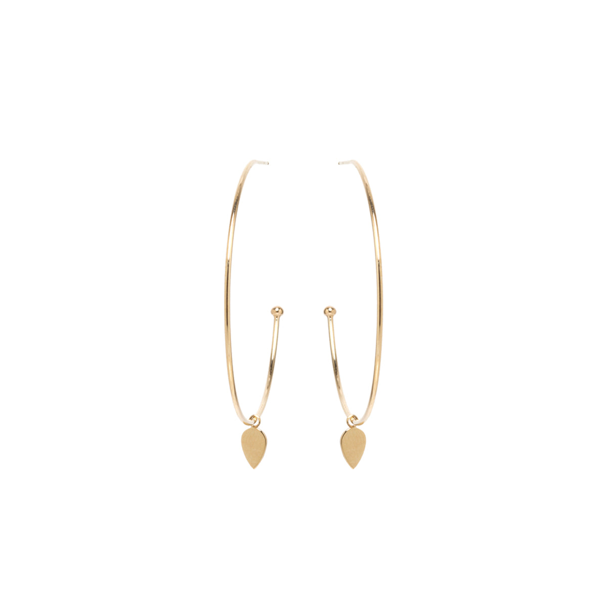 Zoë Chicco 14kt Yellow Gold Medium Hoop Earrings with Dangling Itty Bitty Tear Charms