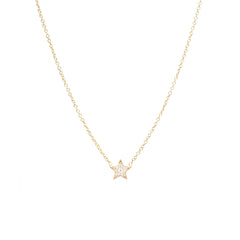 14k pave diamond midi bitty star necklace