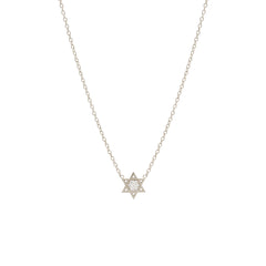 14k midi bitty pave star of david necklace