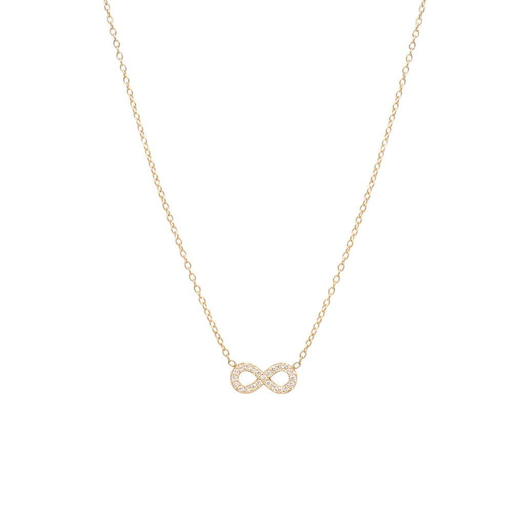 14k midi bitty pave infinity necklace