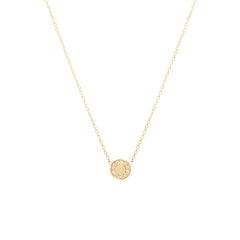 14k pave diamond medium round disc necklace