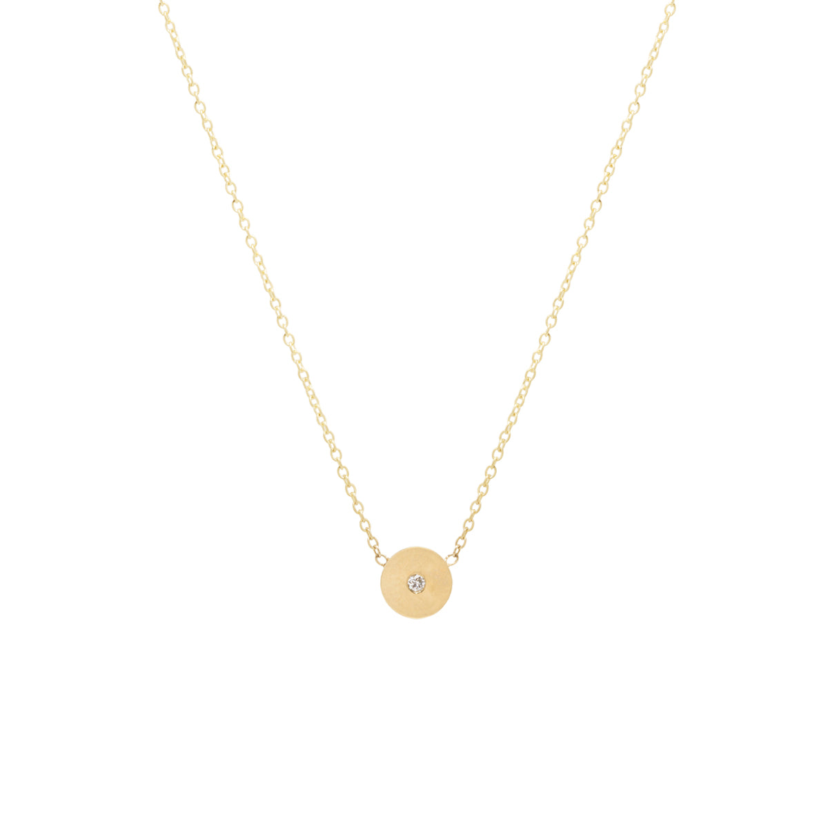 14k single diamond medium round disc necklace