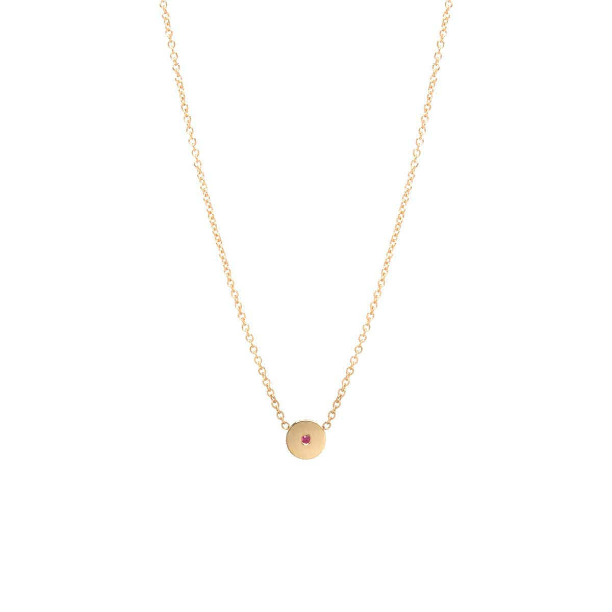 14k Single Ruby Medium Disc Necklace