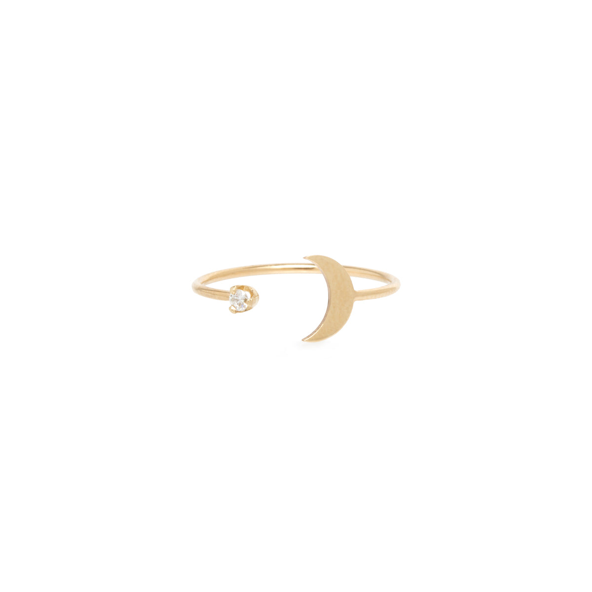 14k midi bitty moon and diamond open ring