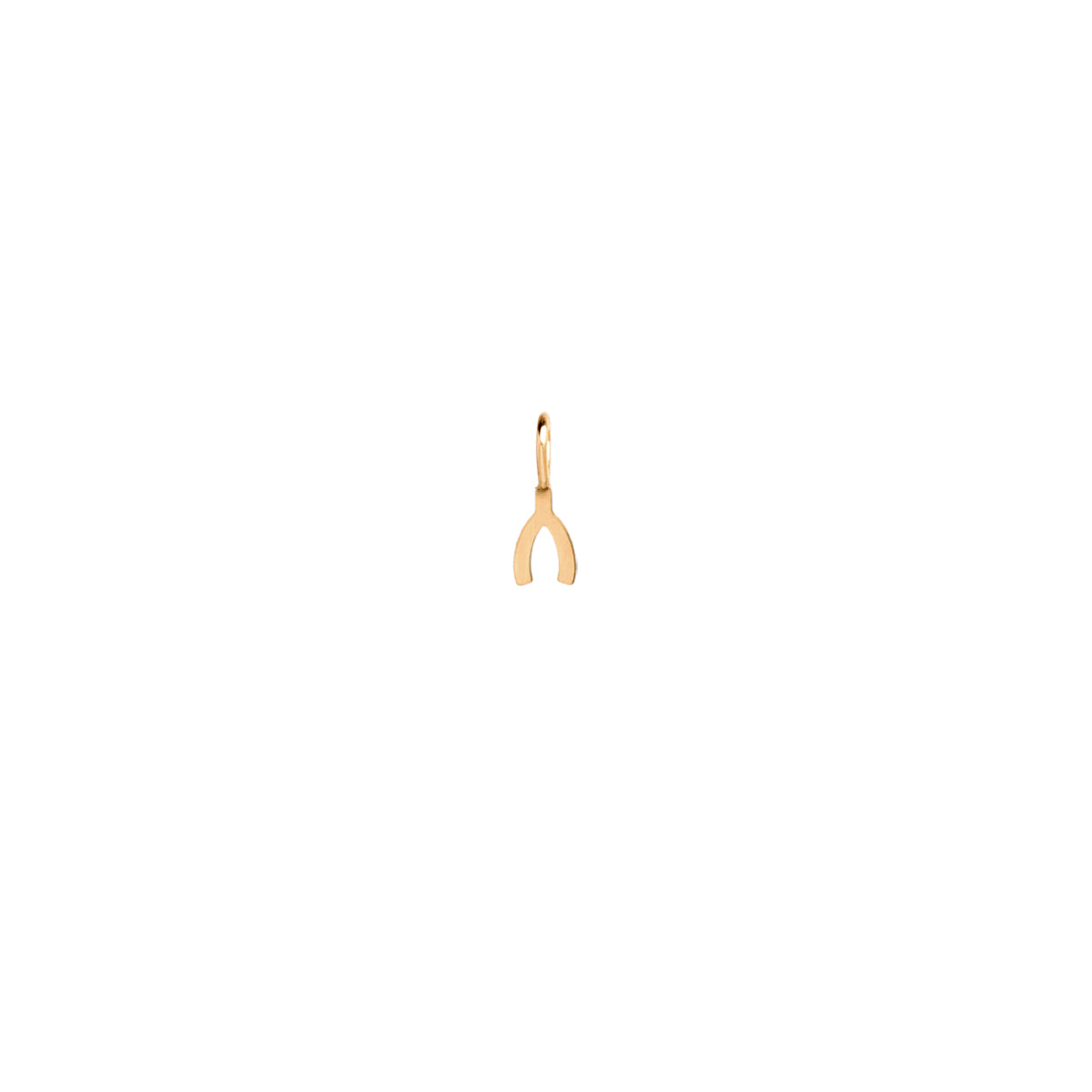 14k single midi bitty wishbone charm
