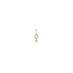 14k single midi bitty pave diamond female symbol charm pendant