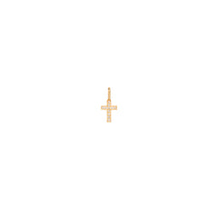 14k single midi bitty pave diamond cross charm pendant
