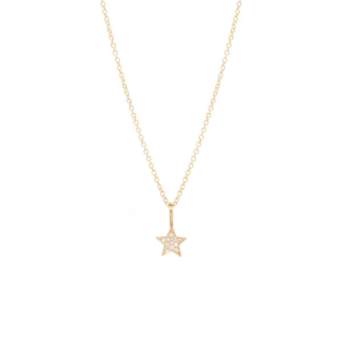 14k midi bitty pave star necklace