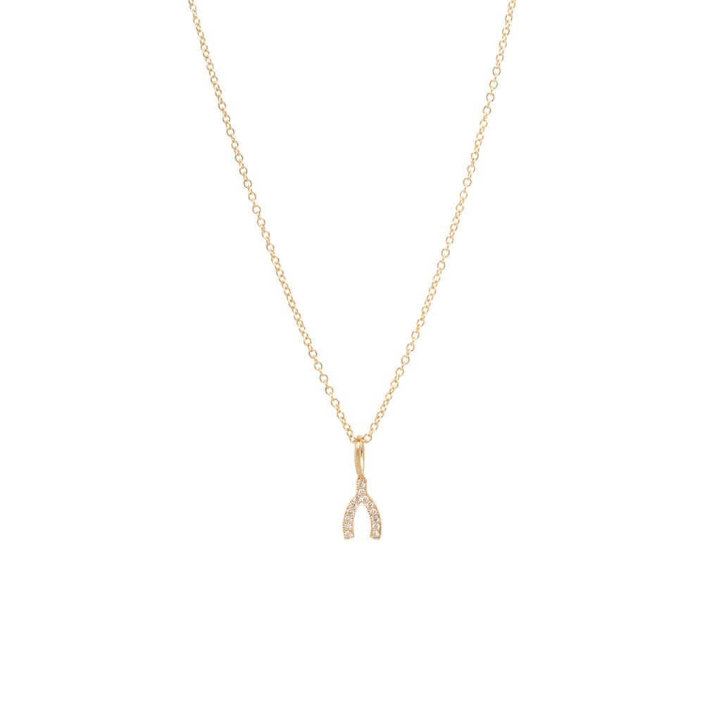 14k midi bitty pave wishbone necklace