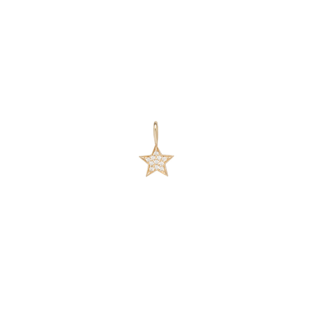 14k medium pave diamond star charm pendant