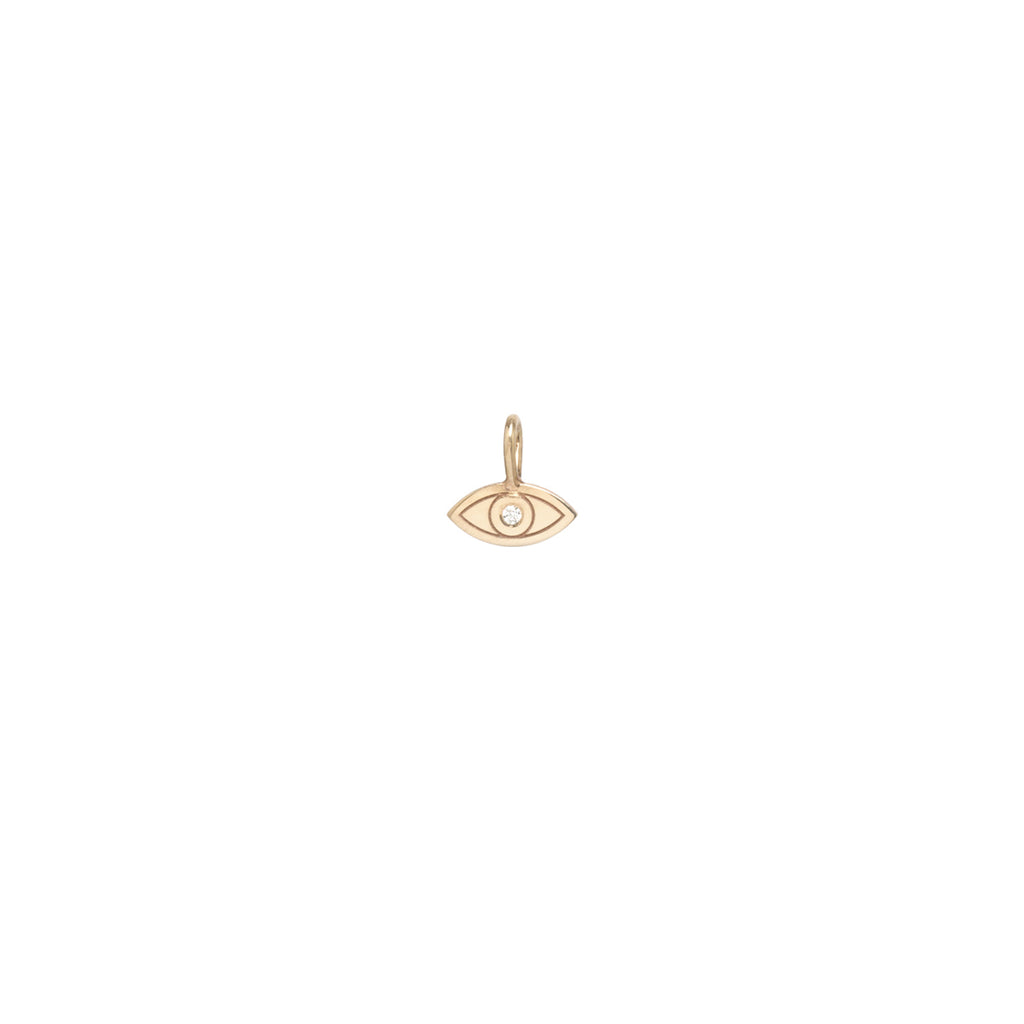 Zoë Chicco 14kt Gold Medium Diamond Evil Eye Charm Pendant