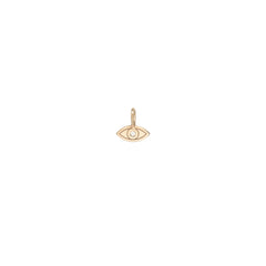 14k single medium diamond evil eye charm pendant