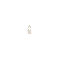 14k single midi bitty diamond padlock charm pendant