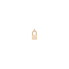 Zoë Chicco 14kt Gold Medium Diamond Pave Padlock Charm Pendant