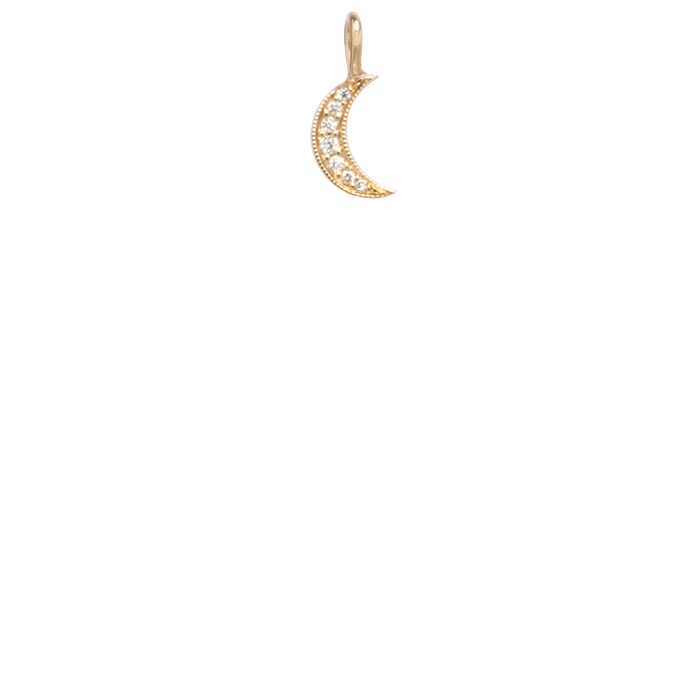 Zoë Chicco 14kt Gold Medium Diamond Pave Moon Charm Pendant