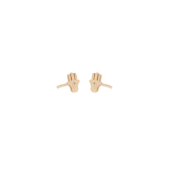 14k midi bitty diamond hamsa studs