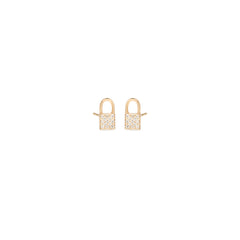 14k pave diamond midi bitty padlock stud