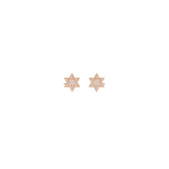 14k pave midi bitty star of david stud