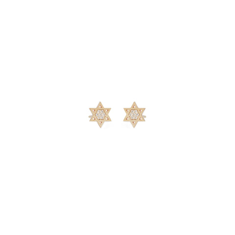 14k pave midi bitty star of david studs