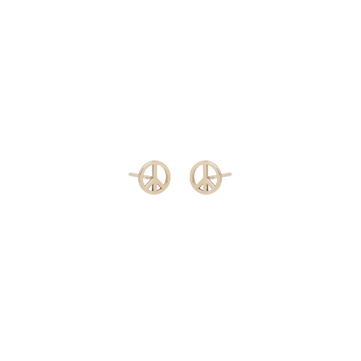 14k midi bitty peace sign stud