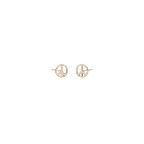 14k midi bitty peace sign studs