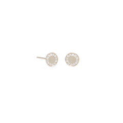 14k pave diamond medium round disc studs