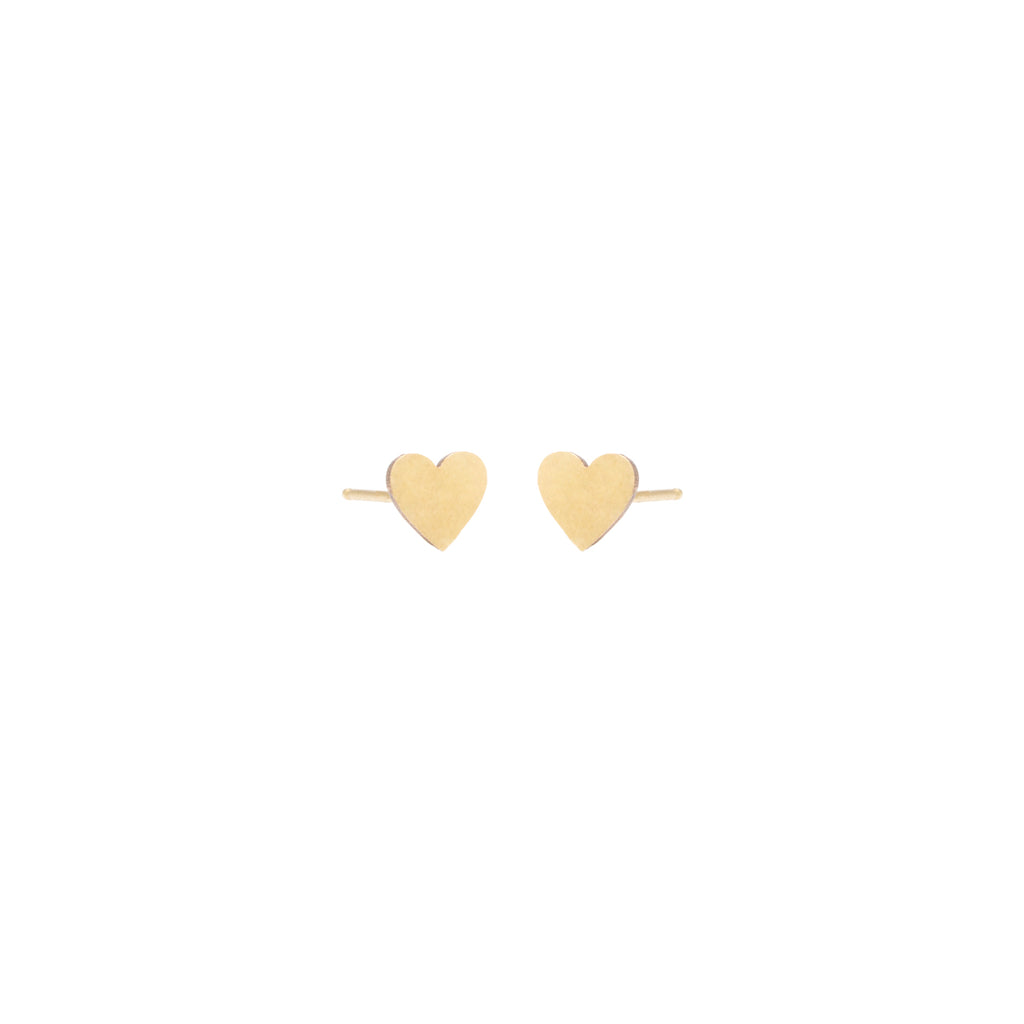 14k midi bitty heart studs