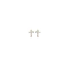 14k pave diamond midi bitty cross studs