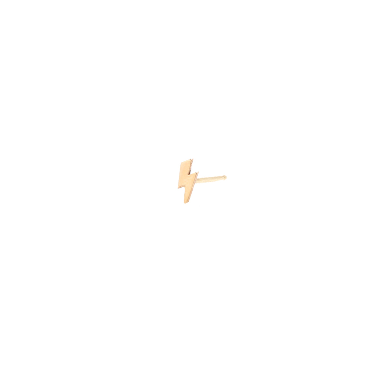 14k midi bitty lightning bolt stud