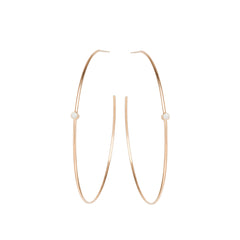 Zoë Chicco 14kt Rose Gold Opal Center Medium Thin Hoop Earrings