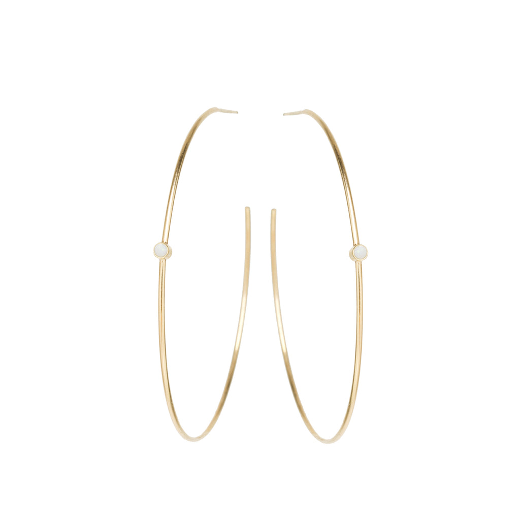 Zoë Chicco 14kt Yellow Gold Opal Center Medium Thin Hoop Earrings