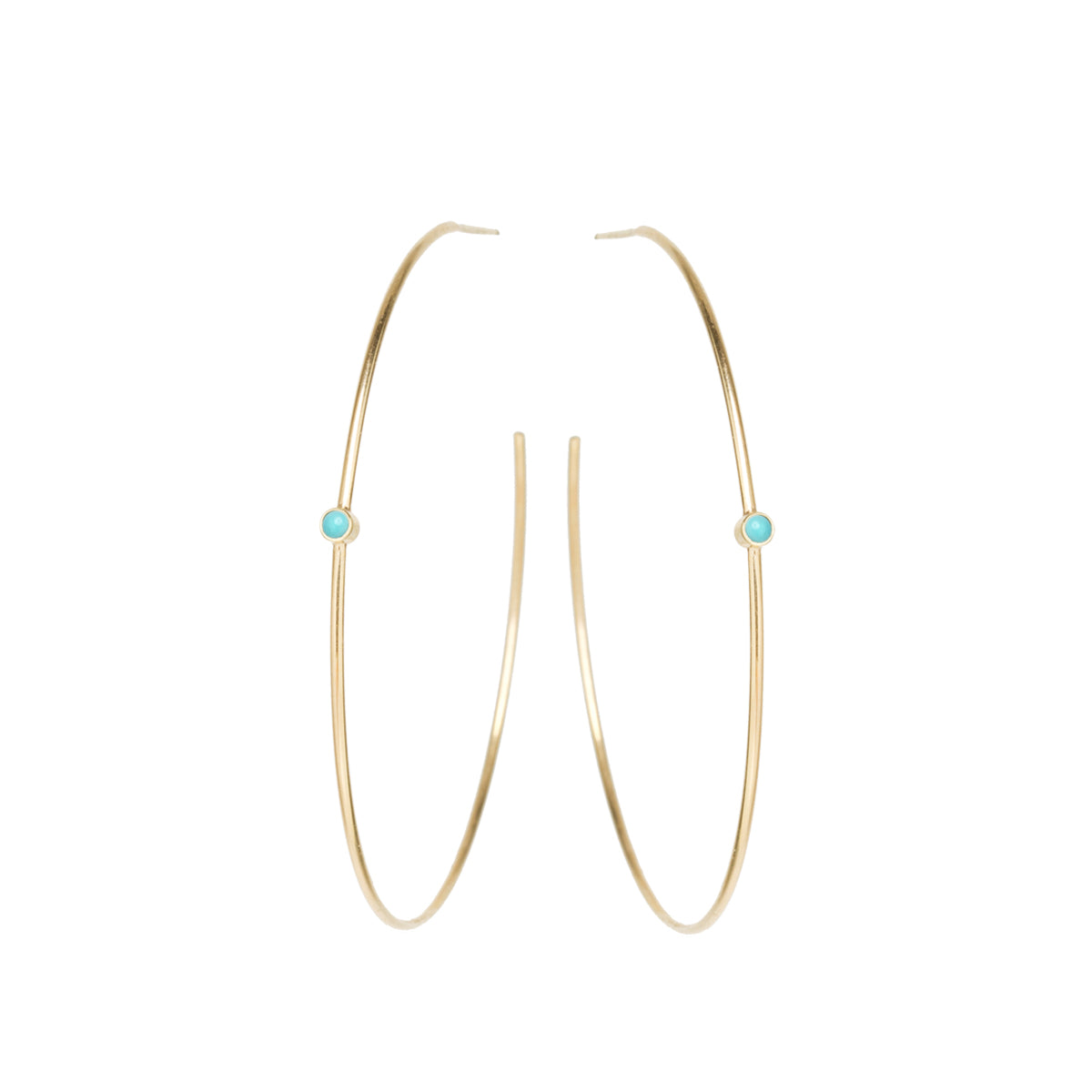Zoë Chicco 14kt Yellow Gold Turquoise Center Medium Thin Hoop Earrings
