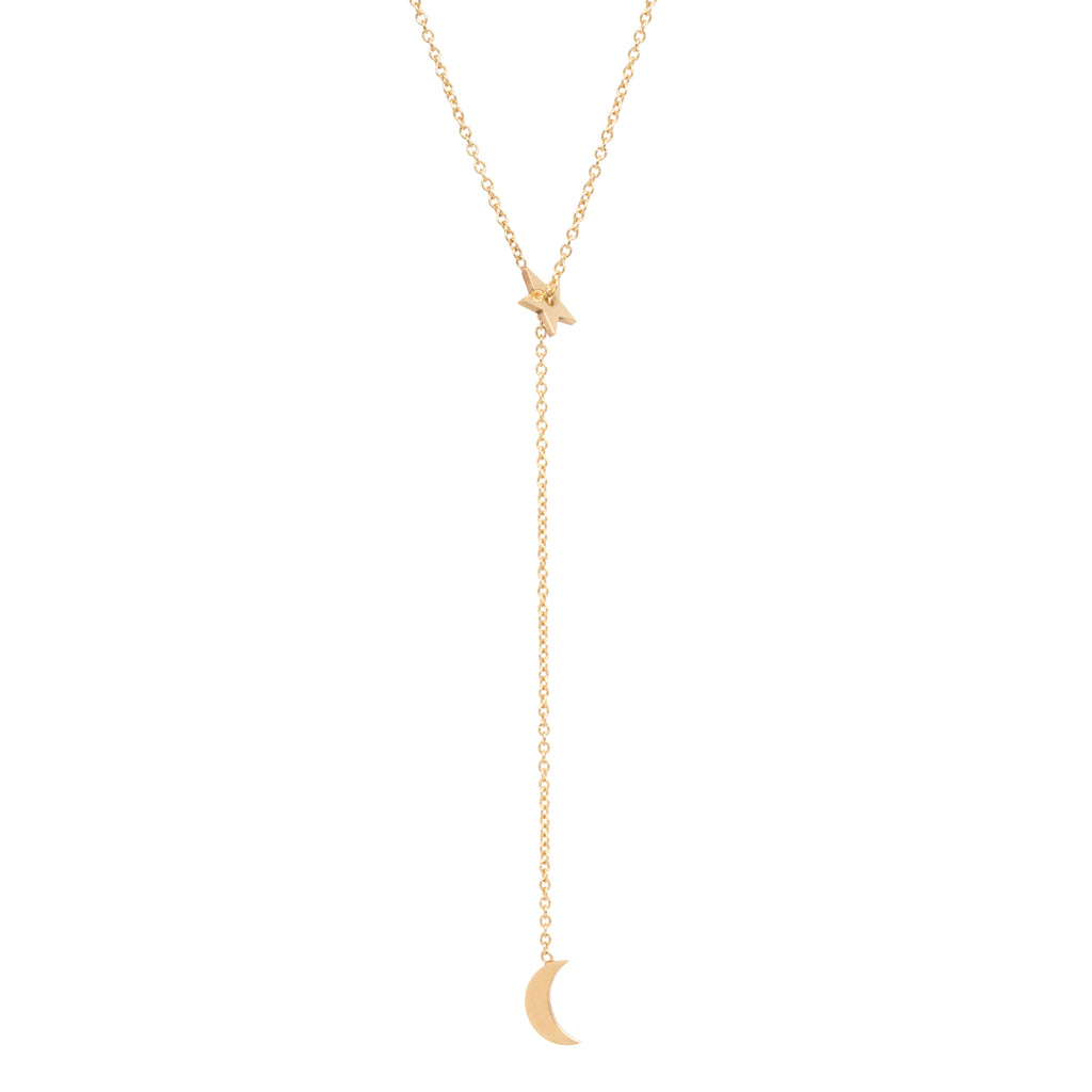 14k midi bitty sliding star and lariat necklace