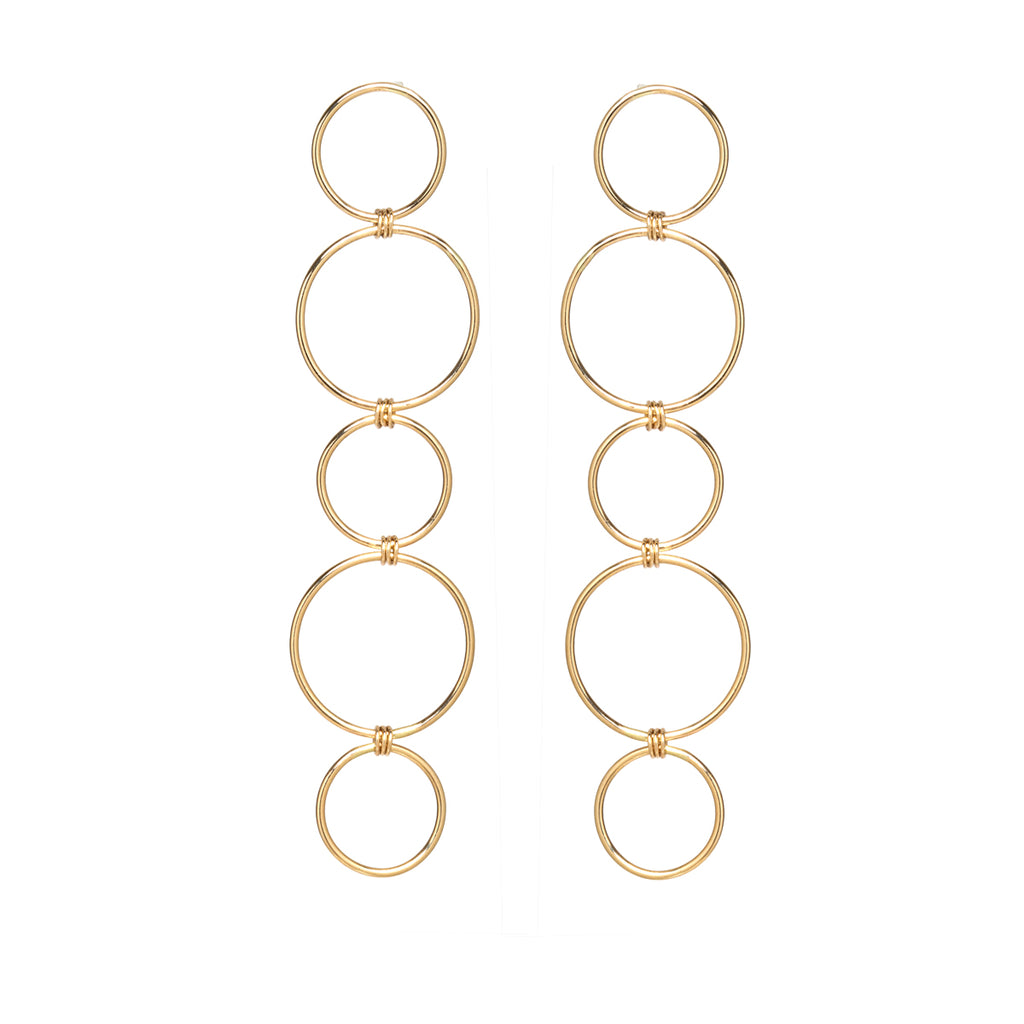 14k mixed five circle earrings