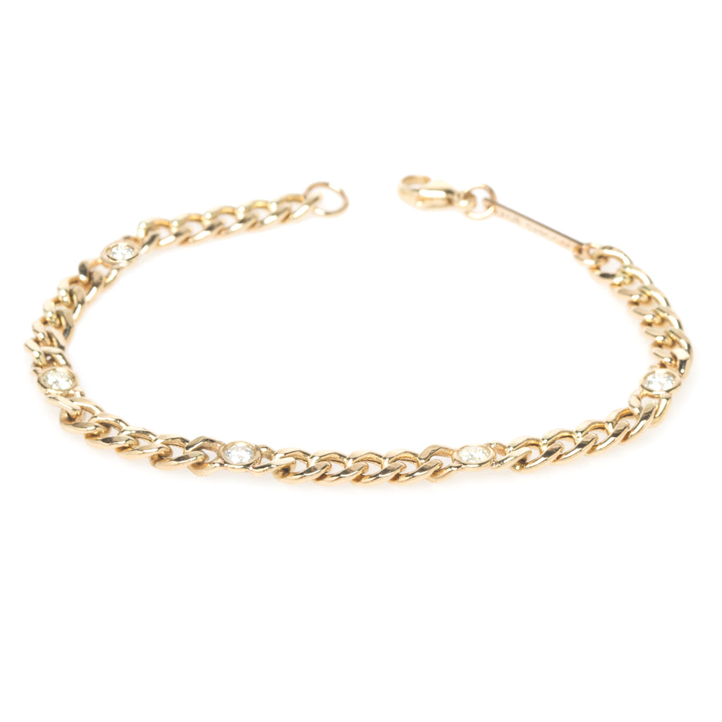 14k medium curb chain bracelet with 5 floating diamonds