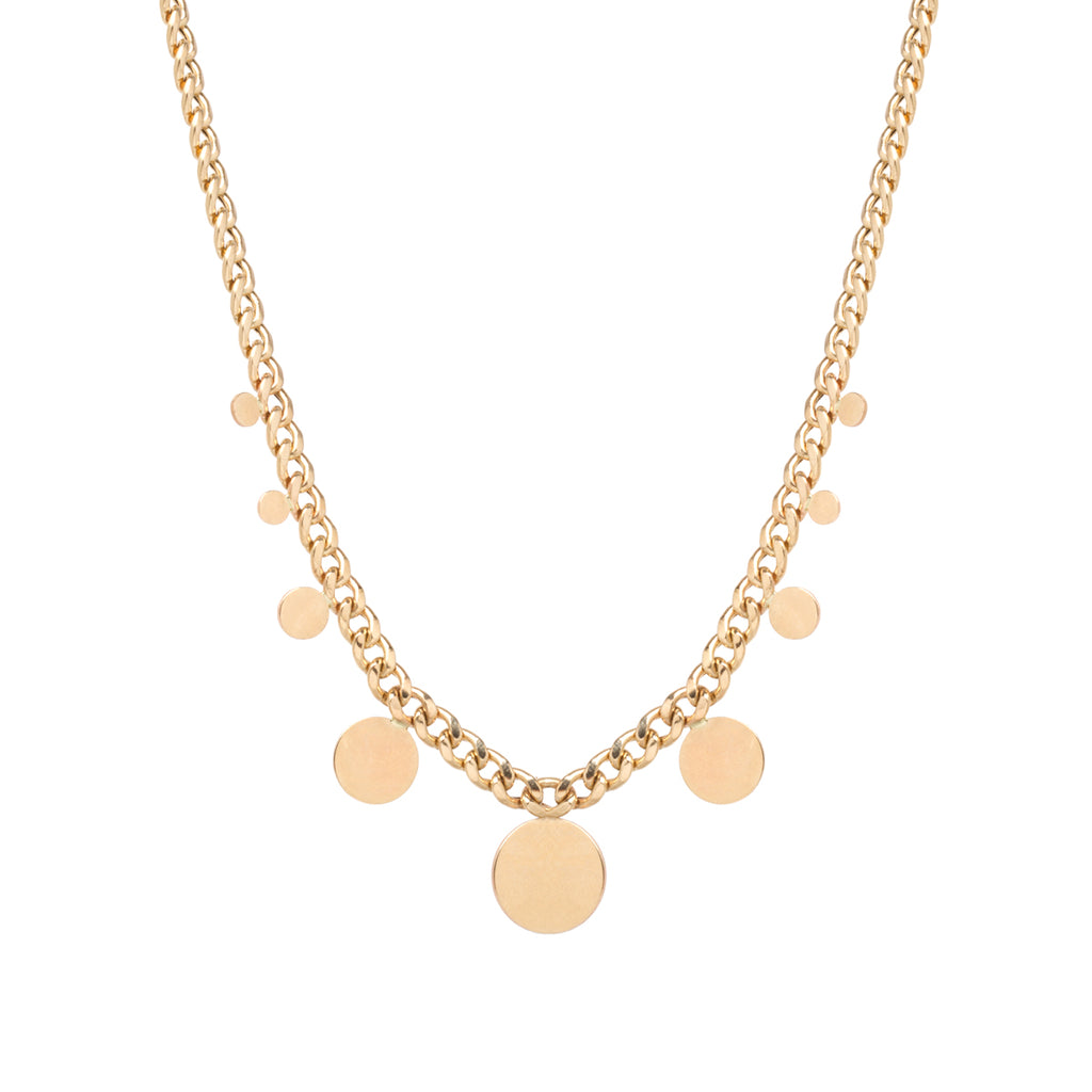 14k gold medium curb chain necklace with 9 graduating discs