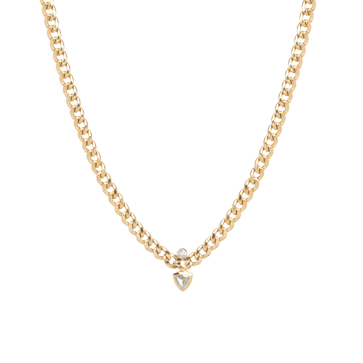14k medium curb chain necklace with prong and trillion diamonds