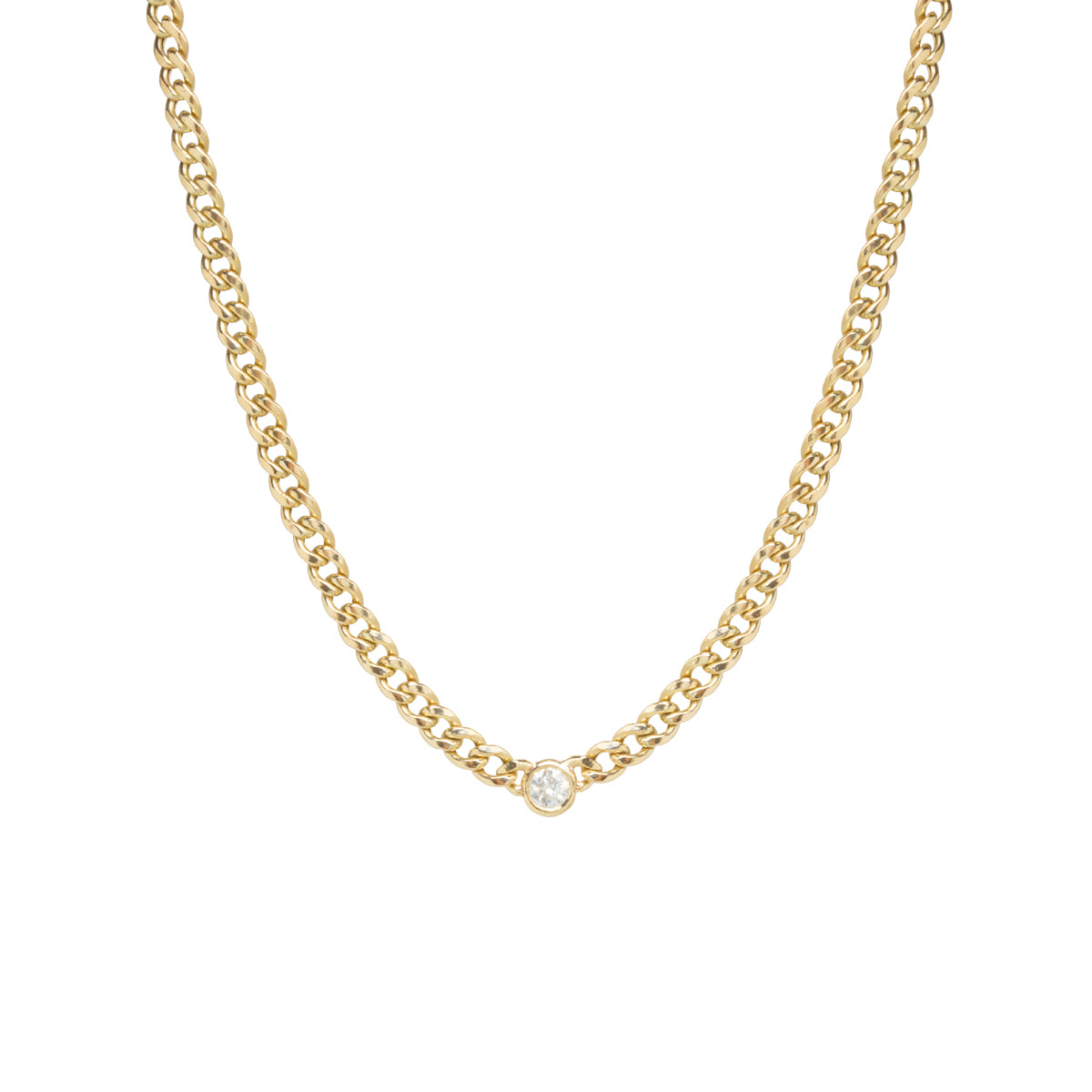 14k gold medium curb chain necklace with single floating diamond