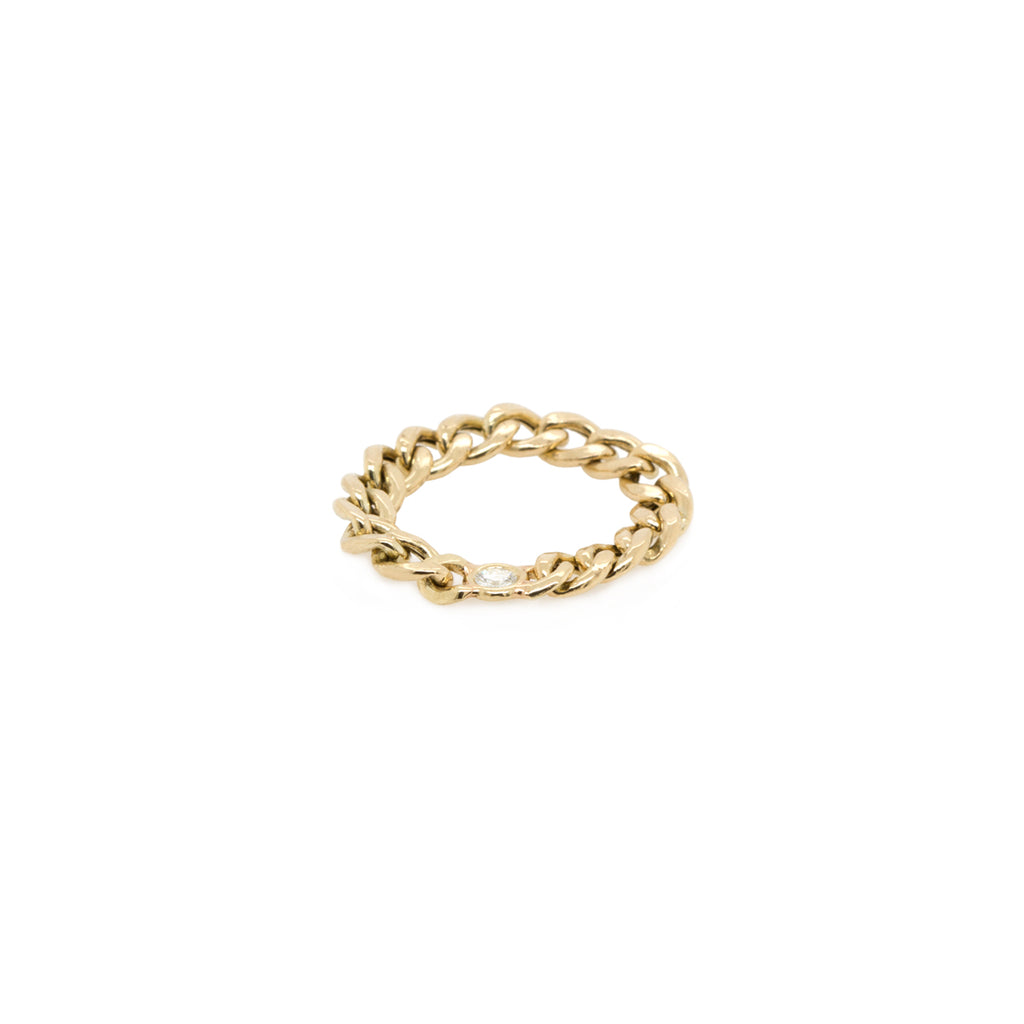 14k medium curb chain ring with floating diamond