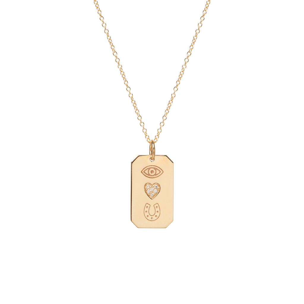 "14k pave diamond ""eye heart U"" dog tag necklace"