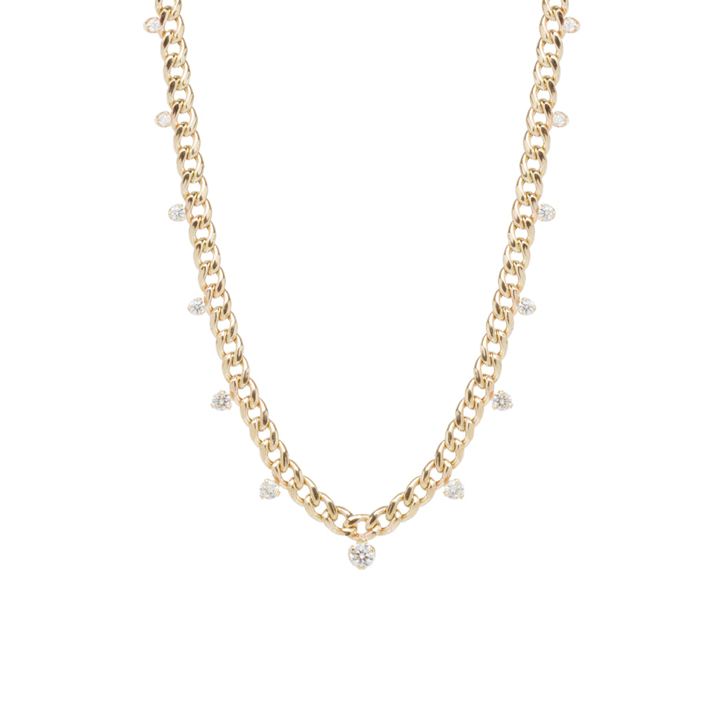 14k medium curb chain necklace with graduated prong diamonds