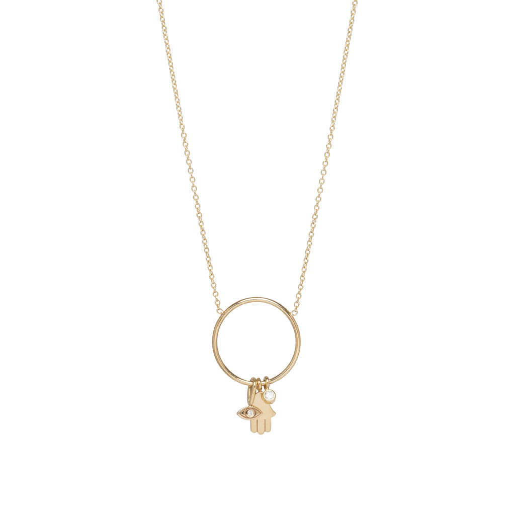 14k circle hamsa, evil eye and diamond charm necklace
