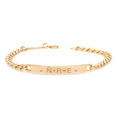 14k medium curb chain Personalized ID bracelet with 2 diamonds