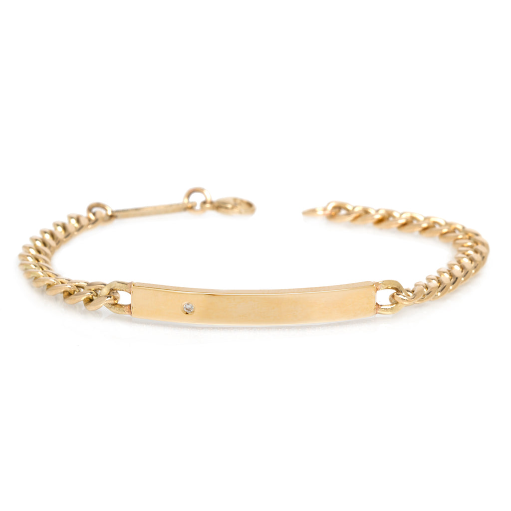 14k medium curb chain ID bracelet with diamond