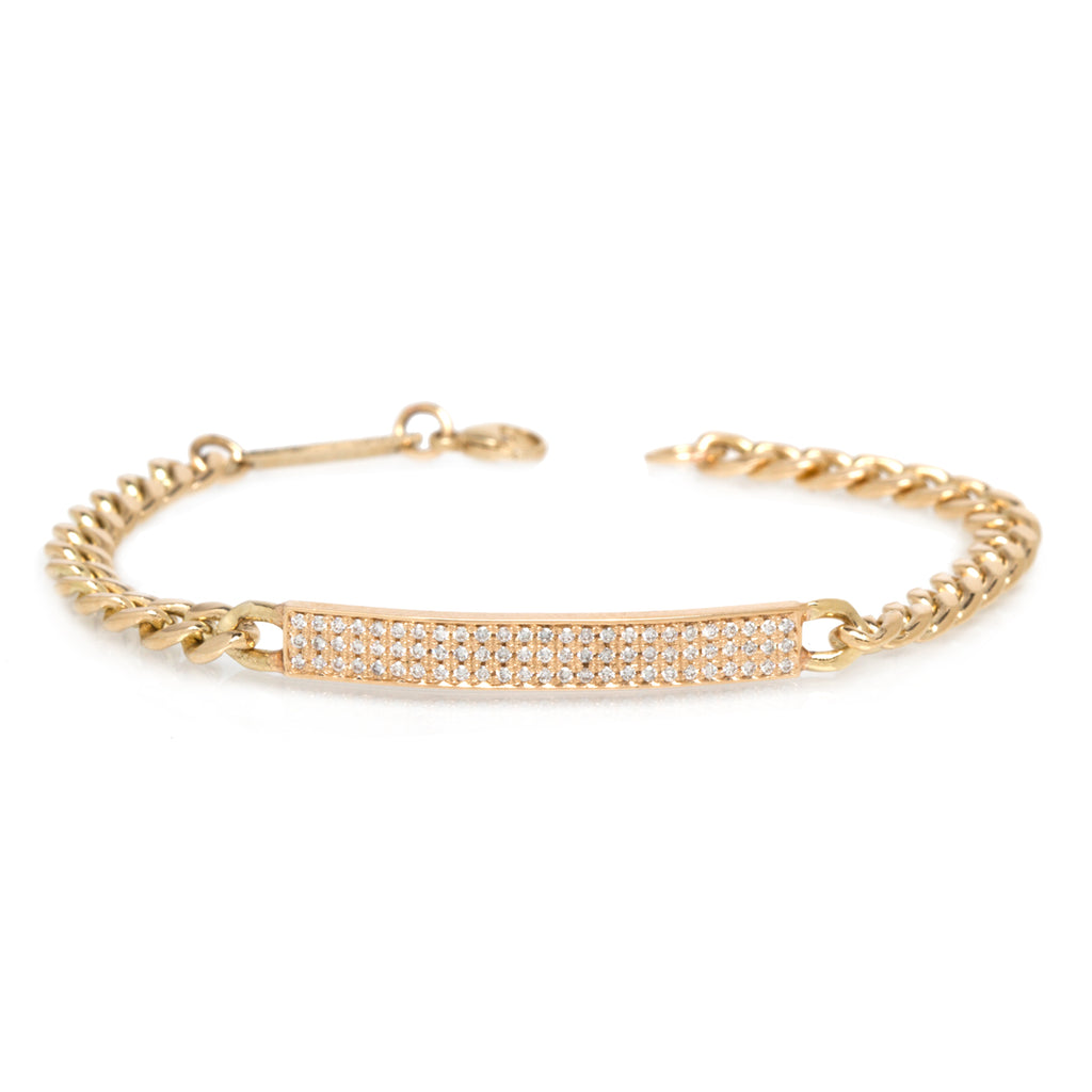 14k pave medium curb chain ID bracelet